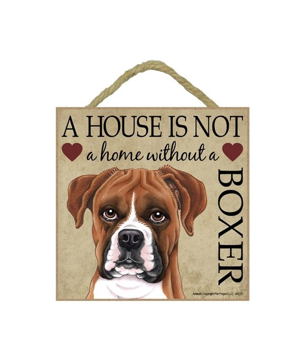 Boxer (uncropped) House 5x5 Plaque