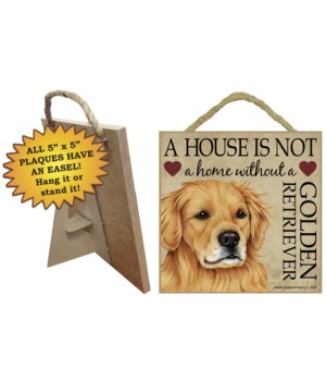 Golden Retriever House 5x5 Plaque