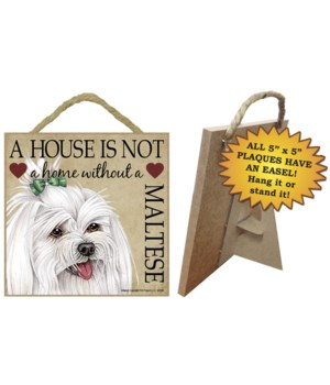 Maltese (bow) House 5x5 Plaque
