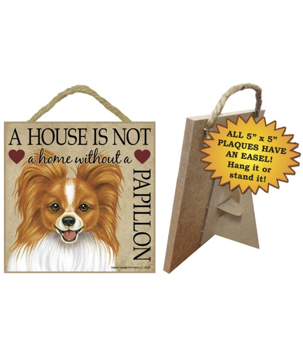 Papillon (red-brn) House 5x5 Plaque