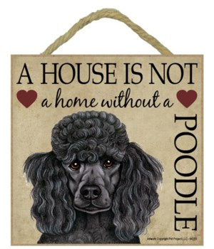 Poodle (Black) House 5x5 Plaque