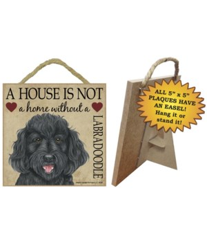 Labradoodle (Black) House 5x5 Plaque