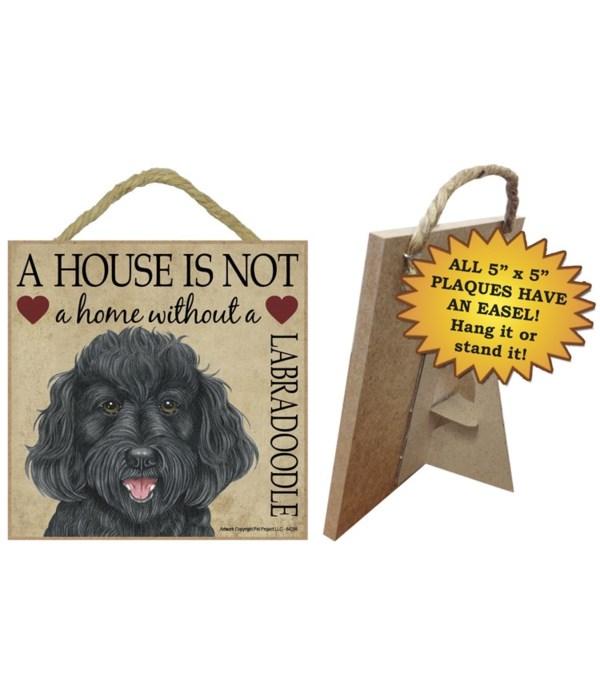 Labradoodle (Black) House 5x5 Plaque