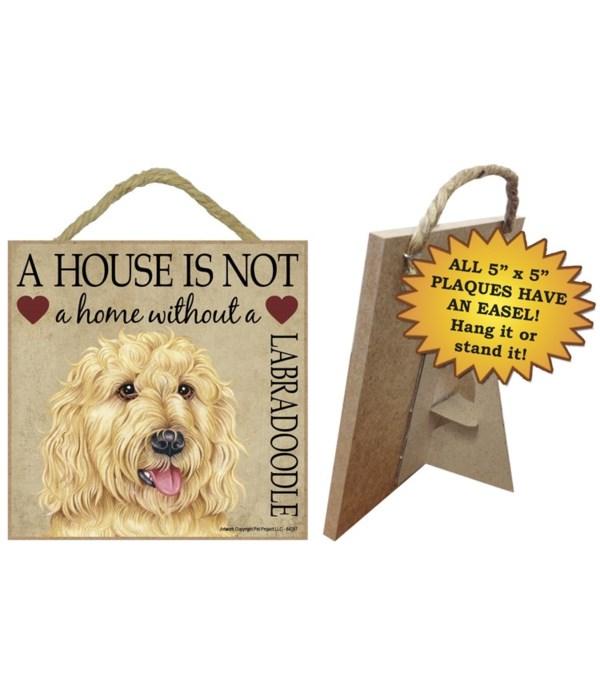 Labradoodle (Blonde) House 5x5 Plaque