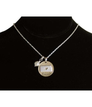 KS Toggle Necklace Pearl Disc