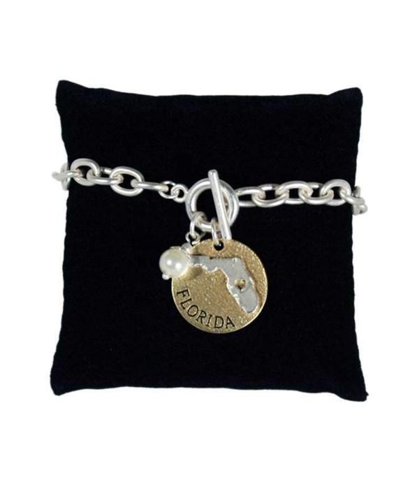 FL Toggle Bracelet Pearl Disc