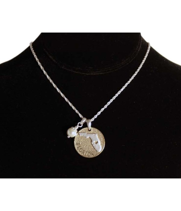 FL Toggle Necklace Pearl Disc