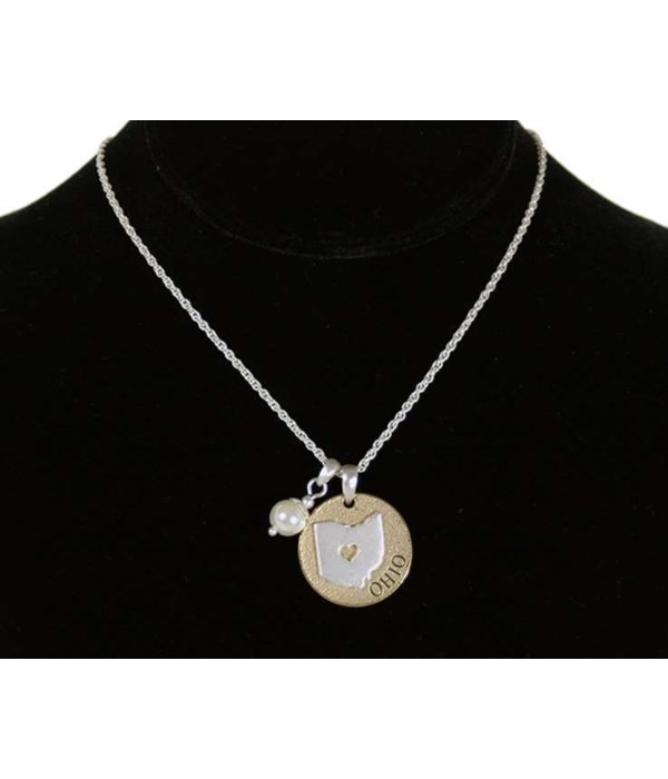 OH Toggle Necklace Pearl Disc