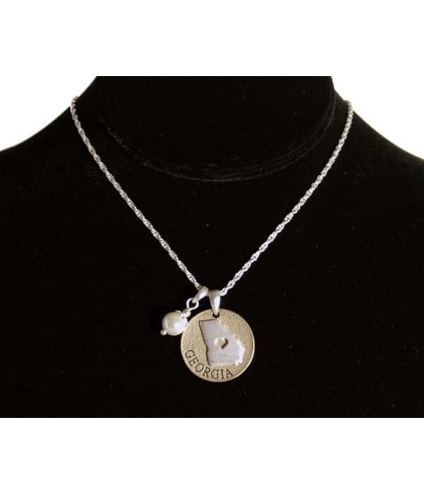 GA Toggle Necklace Pearl Disc