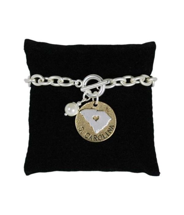 SC Toggle Bracelet Pearl Disc