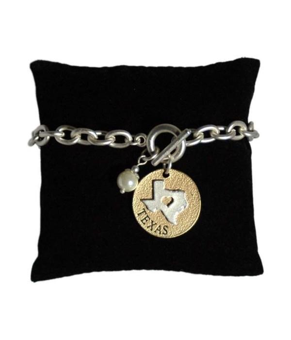 TX Toggle Bracelet Pearl Disc