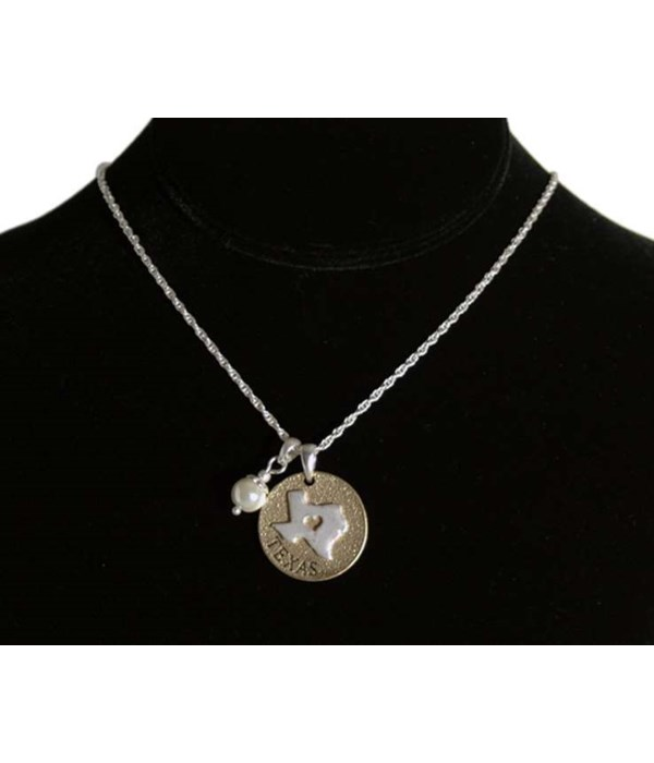 TX Toggle Necklace Pearl Disc
