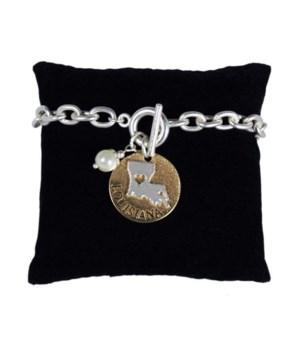 LA Toggle Bracelet Pearl Disc