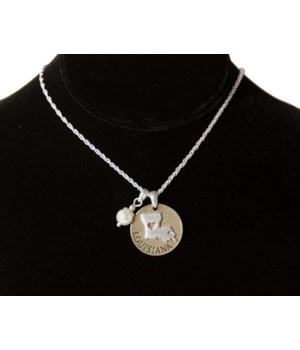 LA Toggle Necklace Pearl Disc