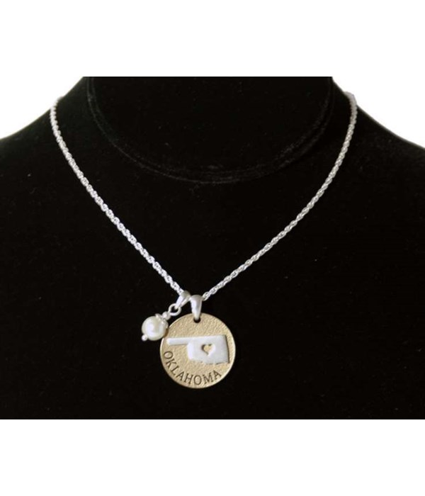 OK Toggle Necklace Pearl Disc