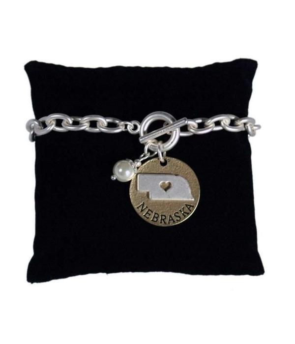 NE Toggle Bracelet Pearl Disc