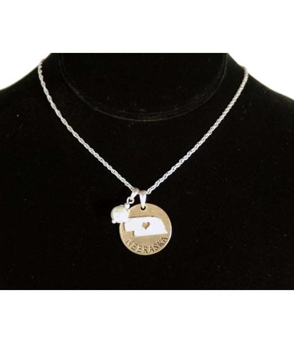 NE Toggle Necklace Pearl Disc