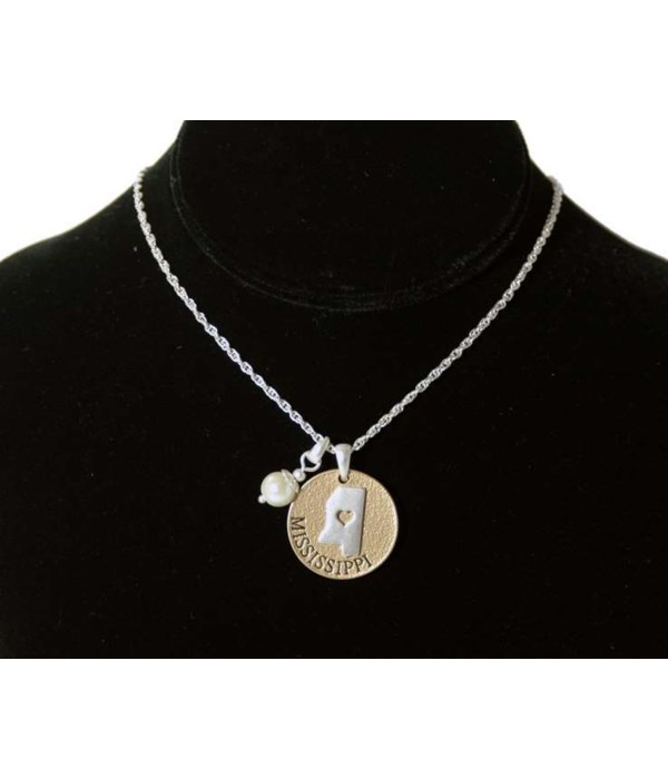 MS Toggle Necklace Pearl Disc