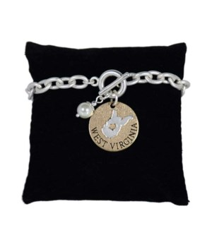 WV Toggle Bracelet Pearl Disc