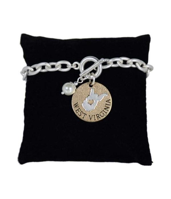 WV Toggle Bracelet Pearl Disc