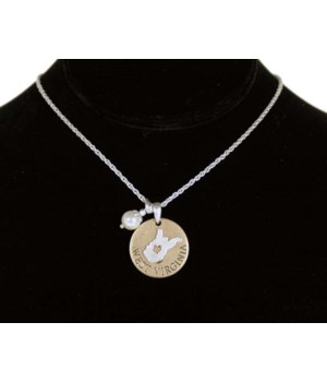 WV Toggle Necklace Pearl Disc