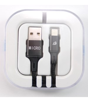 Micro USB Braided in acrylic box 2.1 amp