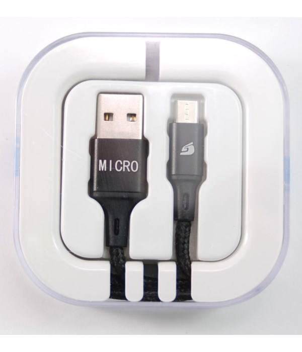 Micro USB Braided in acrylic box 2.1 amp