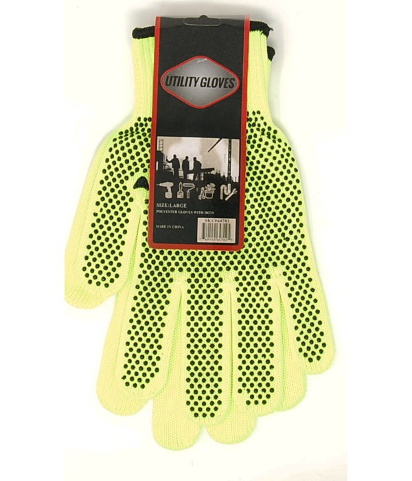 Gloves 800grams/ Green Polyester with Black Dot
