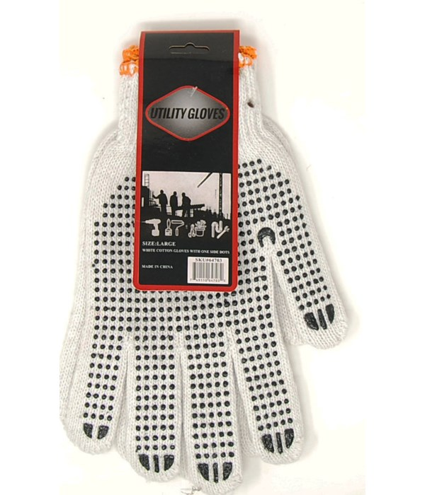 Gloves 900 grams/ Bleached White Cotton Black Dots