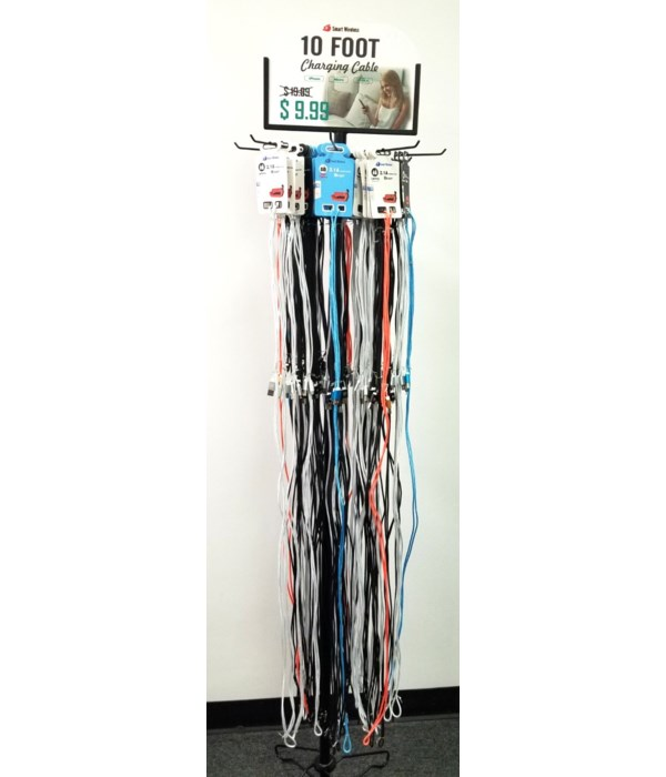 10 FT USB cord 72PC floor display filled