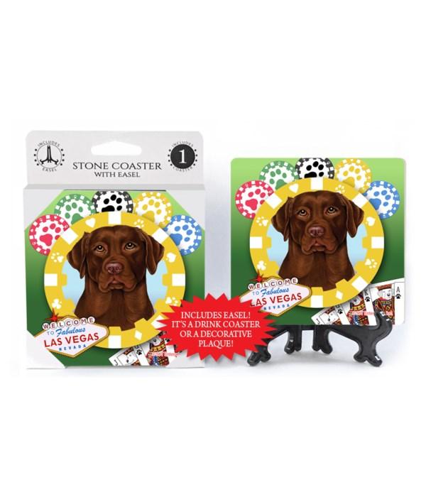 Chocolate Lab - Vegas Dog Coaster