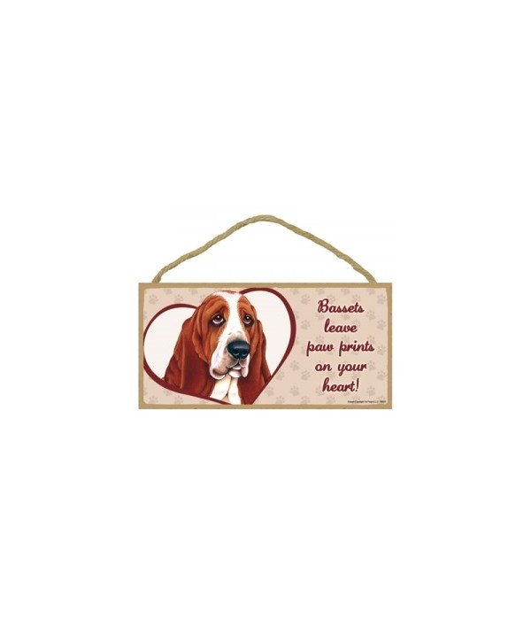 Basset Hound Paw Prints 5x10 plaque