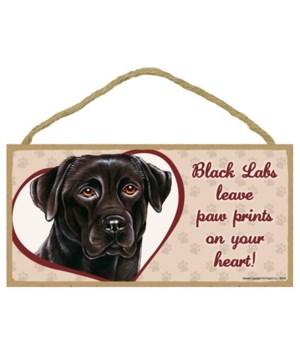 Black Lab Paw Prints 5x10 plaque