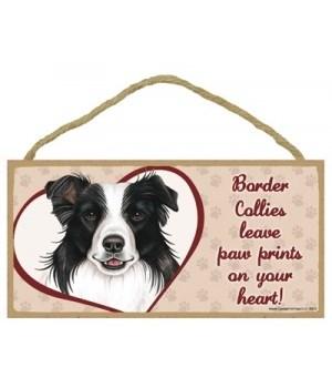 Border Collie Paw Prints 5x10 plaque