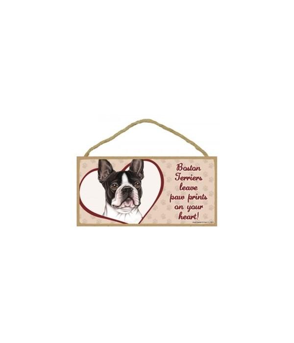Boston Terrier Paw Prints 5x10 plaque