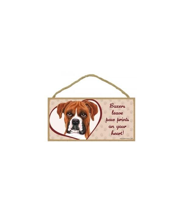 Boxer Paw Prints 5x10 plaque