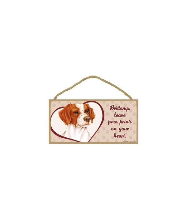 Brittany Paw Prints 5x10 plaque