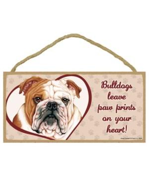 Bulldog Paw Prints 5x10 plaque