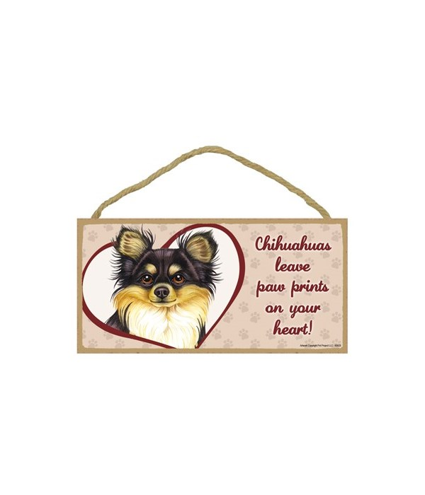Chihuahua Blk/Tan  Paw Prints 5x10 plaque