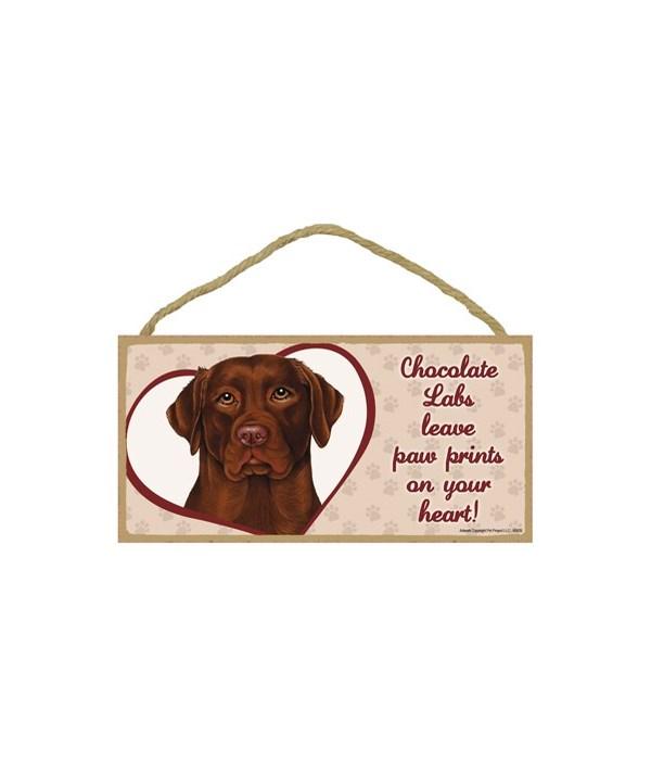 Chocolate Lab Paw Prints 5x10 plaque