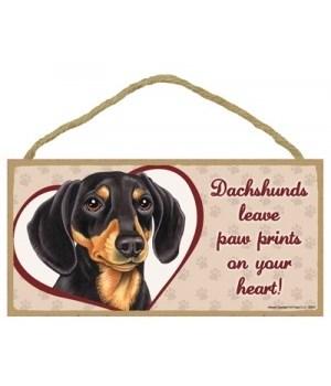 BLK/Tan Dachshund Paw Prints 5x10 plaque