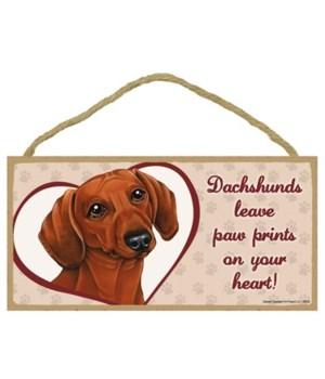 Red Dachshund Paw Prints 5x10 plaque