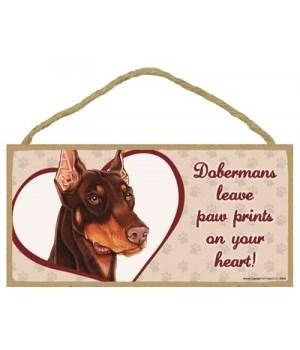 Brown Doberman Paw Prints 5x10 plaque