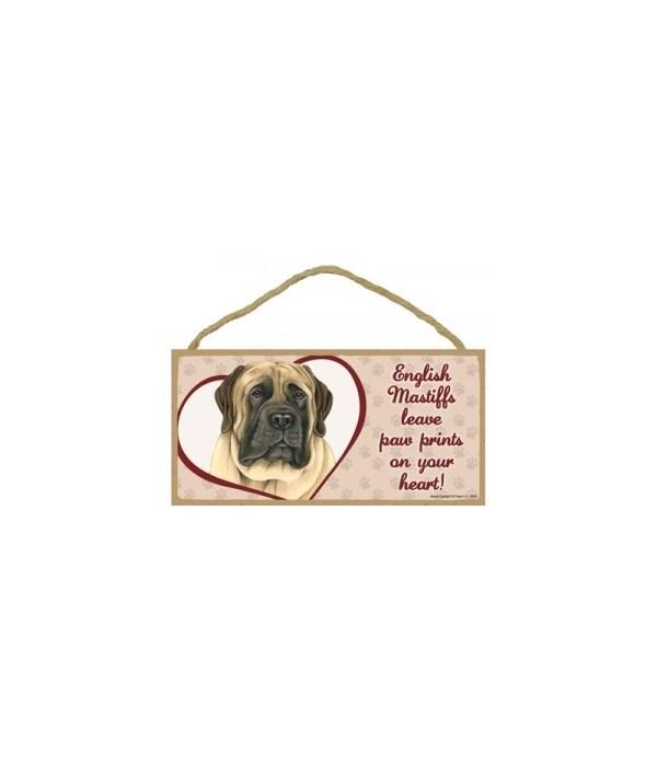 English Mastiff Paw Prints 5x10 plaque