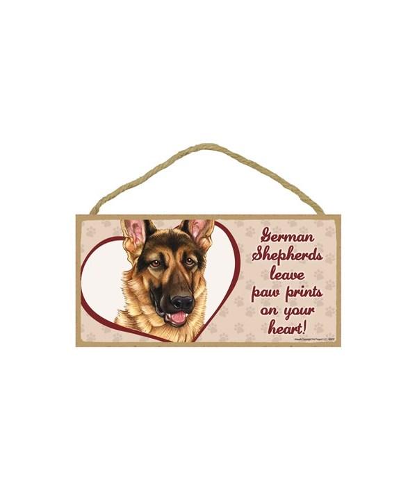 German Shepherd Paw Prints 5x10 plaque
