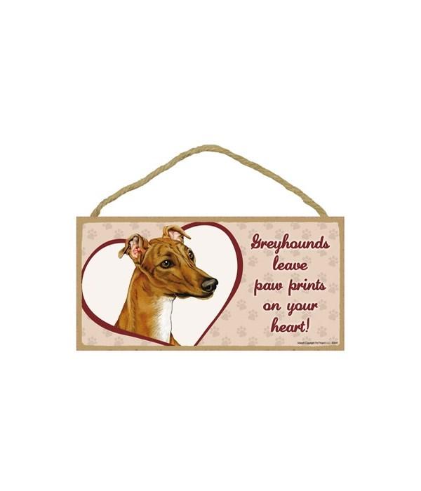 Greyhound Paw Prints 5x10 plaque