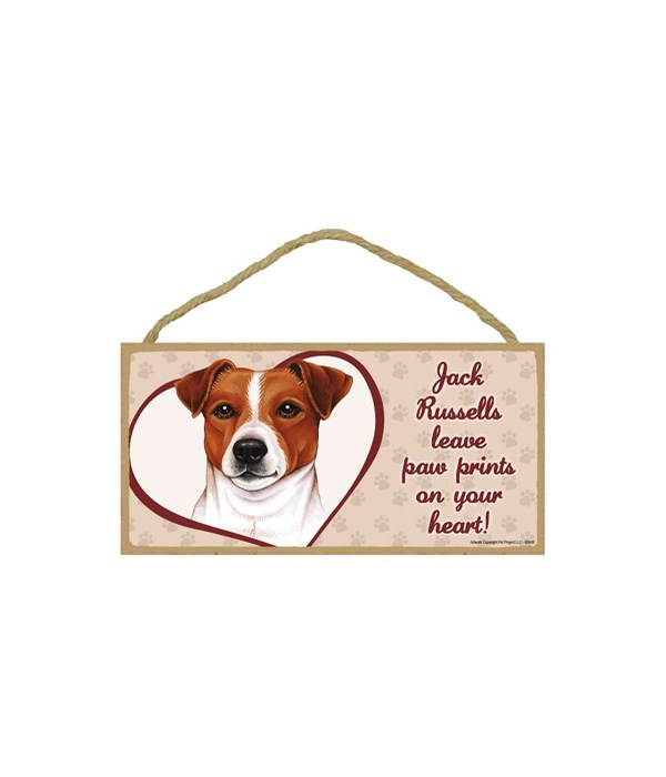 Jack Russell Paw Prints 5x10 plaque