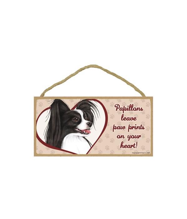Papillion Blk/Wht Paw Prints 5x10 plaque