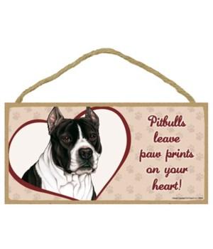 Pitbull (B&W)  Paw Prints 5x10 pla