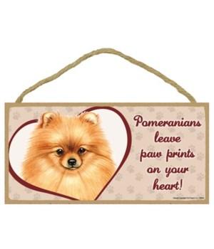 Pomeranian Paw Prints 5x10 plaque